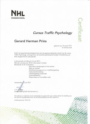 Certificaat Traffic Psychology 001